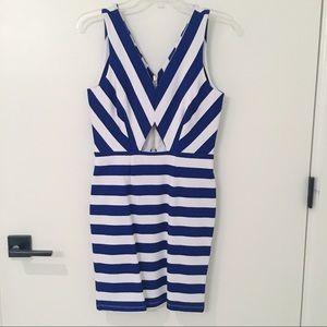 NWT Navy & White Striped Bodycon Dress